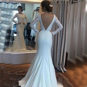 2021 Elegant Mermaid Wedding Dresses Long Lace Sleeves Satin Bridal Gowns Sexy Backless Vestidos De Novia Simple Beach Boho Dresses AL7265