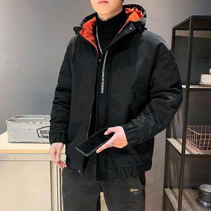 Anbican 2020 Winter Fashion Letter Embroidery Hooded Windbreaker Thicken Parka Jacket Men Casual Warm Coat