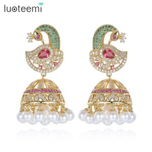Antique Indian Ethnic Jhumka Jhumki Earrings With White Created Pearl Umbrella Drop Setting Chandelier Earring For Bridal Jewelry LUOTEEMI