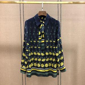 2019 women brand shirt Early autumn Lapel flower print long-sleeved silk shirt women tops new t shirt top quality women clothes CC-2