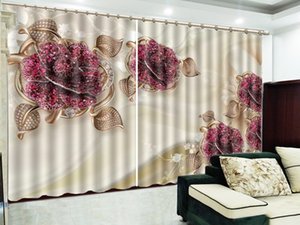 3D Curtain Luxurious Ruby And Delicate flowers Living Room Bedroom Beautiful Practical Blackout Curtains