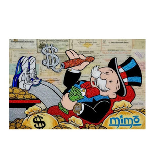 wlong large size oil painting monopoly 2 graffiti wall art picture home decor living room modern canvas print paintings