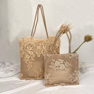 Embroidered Lace Straw Bags For Women Summer Hot Sale Travel Beach Shoulder Bags Trending Women's Handbag 201015