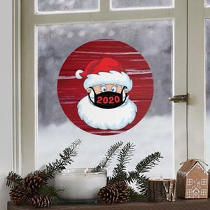 21 * 21cm ronde Cartoon Creative Beau Noël autocollant Étalage de verre Autocollants de Noël Père Noël Atmosphere Autocollants VT1760