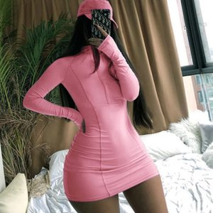 Women Casual Sexy Dress New Autumn Spring Fashion Zip Tight Dress Womens Solid Color Nightclub Style Dresses Ladys Sexy Skirt Hot Sale