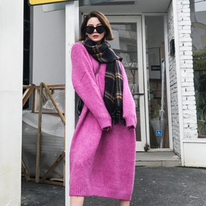 Femmes solides Robe pull en cachemire Femme d'hiver Robe manches longues Midi Harajuku Casual style coréen Robes