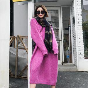 Mujeres sólido vestido de cachemira suéter de invierno Mujer Midi vestido de manga larga de Harajuku Vestidos estilo casual de Corea