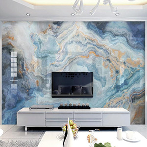 Custom Any Size Mural Wallpaper Modern Blue Landscape Marble Wall Papers Living Room TV Sofa Home Decor Papel De Parede 3D Sala