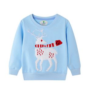 Casual Children Cartoon Elk Sweatshirt Boy Girls Autumn Winter Long-Sleeved Warm Pullover Tops
