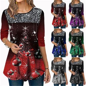 Navidad de las mujeres camisetas tendencia de la moda 3/4 manga Ronda Patrón cuello de Navidad 3D Camiseta larga Tops Diseñador Mujer Otoño Nueva lentejuelas camiseta