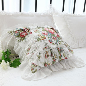 Luxury Ruffle Lace cushion cover pastoral print garden pillow cover Bed bedding pillowcase Sofa throw pillow decorative pillows