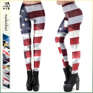 Spring and summer new women's clothing independence day national flag printing slim Leggings kdk2057