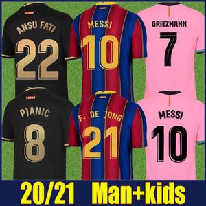 2020 Español Fútbol Club Jersey Frenkie Lionel Andrés Rojo Azul Rayado Ansumane Antoine Football Jersey Man Kit Kit Kids Camiseta Fati 20/21