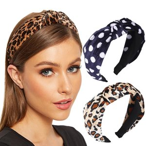 Cotton Leopard Classic Hairband Hair Accessories Middle Cross Knitted Retro Hair Hoop for Women Girls Party Photograph