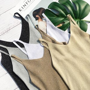 2020 Summer Women stretch Knitting v neck Camisole Tops Female Bodycon Knitted Tanks party Tank top Sleeveless Basic T shirts