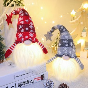 LED Glowing Santa Claus Plush Doll Light up Plush No Face Toys Merry Christmas Decorations Ornament Supplies Kids Music Gift z145