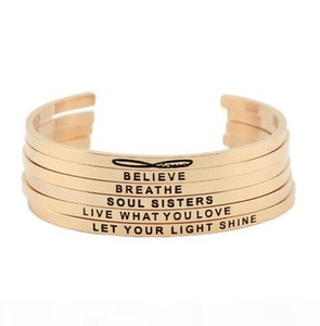 New arrival! stainless steel open cuff bracelet rose gold Hand Stamped Bracelet Bangle engraved words bracelet bangle jewelry
