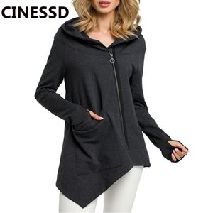 CINESSD Women Hooded Casual Coats Solid Long Sleeve Oblique Zipper Cardigan Hoodie Sweatshirt Irregular Thumb Hole Pocket Jacket 201017