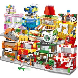 5Building blocks mini street view urban commercial street building model children boys and girls puzzle assembly stall toy puzzle5