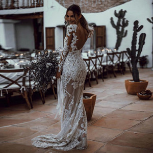 White Sequined Lace Mermaid Wedding Dresses with Long Sleeve abiti da sposa Backless See Through Berta Wedding Gowns