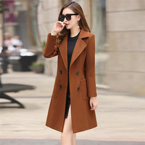 New Autumn Winter Women Trench Warm Women Cotton Blends Fashion Casual Medium-Long Loose Blend Double-breasted Slim Female Coats
