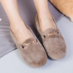 Winter Women's Plush Fur Loafers Moccasins White Comfortable Ballet Ladies Flats Slip-on Shoes Female Platform Shoes Boat