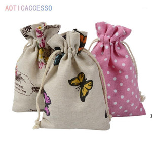 10pcs Wrap Supplies Gift Candy Bags Party Event Linen Burlap Bag Drawstring Pouch Jewelry Box Cartoon Christmas Jute Gift Bag DHE4481