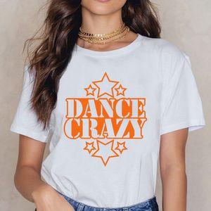 Tops T Shirt Mulheres Crazy Dance With Stars Humor algodão branco Feminino Camisa esporte moletom com capuz Hoodie