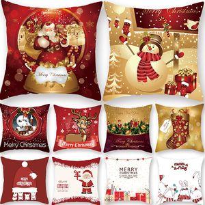 Claus Xmas Red PillowCase Tree Decoration Santa Cushion Cover Christmas Decorations for Home Decor Noel Natal 2021