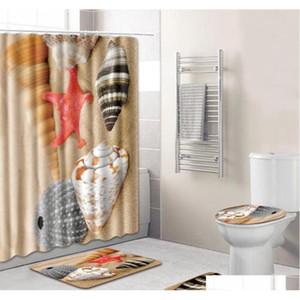 4pcs Set Bathroom Accessories Non-slip Pedestal Rug + Lid Toilet Cover + Bath Mat+shower Curtain Bathro qylREf hotstore2010