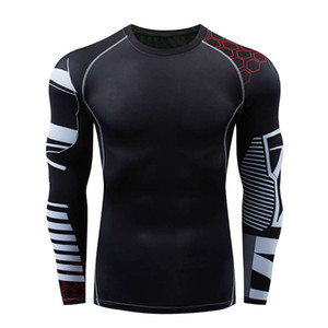 Fitness clothes cycling sports basketball football running tights men's high elastic training fast drying clothes long sleeve slimming