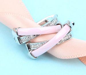 Cross X Ear Cuff Micro Pave Clear Cubic Zirconia Cute Girl Gift Pink Orange White Ceramic Earrings Creative Cuff CZ44