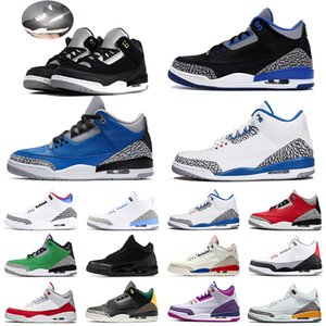 Nakeskin pas cherJordanhommes rétro chaussures de basket-ball 3 3s Varsity Rouge Royal Ciment Cool Gray entraîneurs des hommes de sport d'espadrille