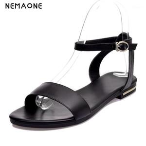 NEMAONE 100% Cuero de vaca Sandalias planas de verano Zapatos de mujer Tamaño grande 34-431