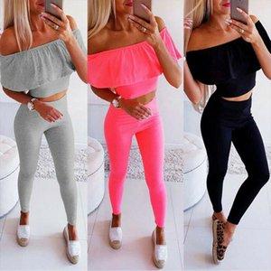 Fashion Casual Women Ladies 2PCS Sets Off Shoulder Crop Top High Elastic Waist Pencil Pants Solid Ankle Long Pants