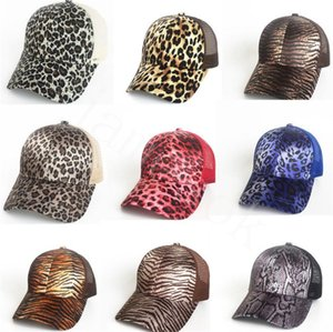 Leopard Print Ponytail Baseball Cap 9 Colors Mesh Hats Women Messy Bun Casual Hip Hop Snapbacks DB436