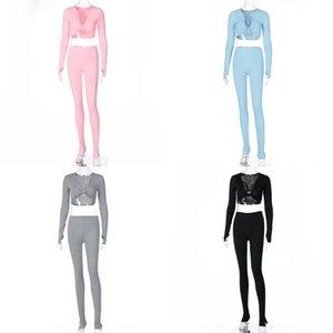 TACY Popüler 2020 Kış Yeni Kadın Moda V Yaka Ince Yoga Popüler 2020 Suit Kış Suit Kadınlar Için