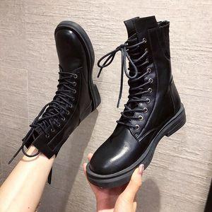 Toe Round Autumn 2020 Women's Low Heel Shoes Luxury-feminine Designer Boots Rock Fashion Riding Ladies P9up