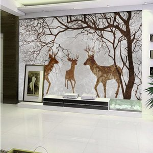 Drop Shipping Custom Photo Wallpaper Abstract Hand Painted Elk Three Home TV Background Wall Custom Mural Stereo Room Wallpaper