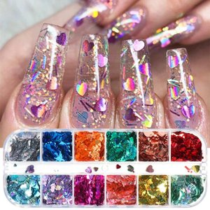 3D Laser Nail Glitter Sequin Mix Size Love Heart Cross Nail Art Flakes Gel Polish Holographic Nails Powder Decor Manicure LESZX