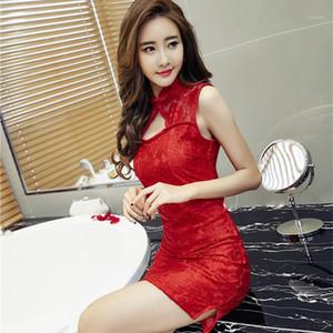Goyhozmi женщины близоруют горячие скольжения красные / черные полные скольжения сексуальные моды Cheongsam1