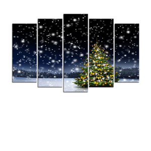 Picture Frame Home Decoration Printing Poster 5 Pieces Christmas Carol Snow Wall Art Canvas Painting Peng Da XMA0029