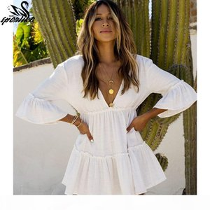 White Beach Dress Cover up Kaftans Sarong Bathing Suit Cover ups Beach Pareos Swimsuit up Womens Swim Wear Tunic