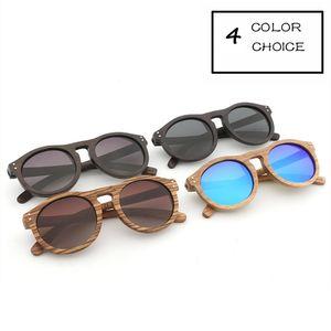 Unisex Holz Retro polarisierte Sonnenbrille Männer und Frauen-Sonnenbrille runde Form Rahmen UV400 Schutz-Schwarz-Linse Gafas De Sol