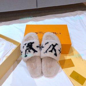 Louis Vuitton Top Mink zapatillas zapatillas zapatillas causales de lana para el hogar tian / flores comienzan flip impresión de diapositivas sandalias de playa fracasos