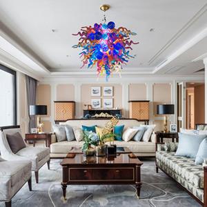 Envío gratis Romántico dormitorio ligero lindo vidrio lámpara casera púrpura color azul colgando luz murano chandelier led lámparas decorativas