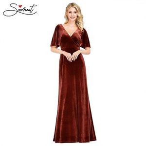 Nuevo vestido de noche de mujer elegante Vestido de noche largo de vizvet rojo Velvet con mangas de volantes Adecuado para fiestas formales LJ201125