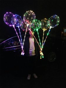LED Light Bobo Balloon Four Colors Lamp 20.5 Inches Stick 70cm String Birthday Christmas Halloween Air Balloons Party Decor 2 39jx L2