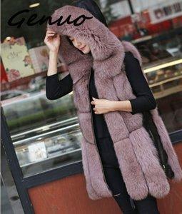 Genuo Winter Damen Pelz Jacke Faux-Pelz-Weste-Mantel-Mode Weste mit Kapuze-Seiten-Reißverschluss Nähen Leder Warm Outwear