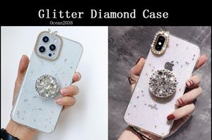 Glitter Diamond Flowers Holder Stand Cases For iPhone 12 Pro Max 11 XR XS 8 7 6 Plus TPU PC Clear Case